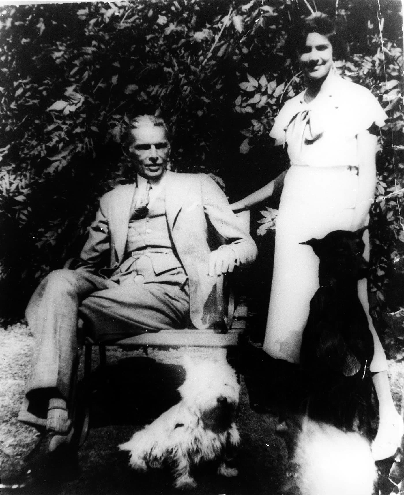 Mr Jinnah and Dina share a private moment in the grounds of their home on West Heath Road in Hampstead, London. —​ Courtesy National Archives Islamabad