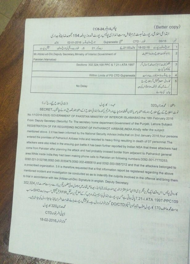 CTD Punjab registers FIR against Pathankot air base