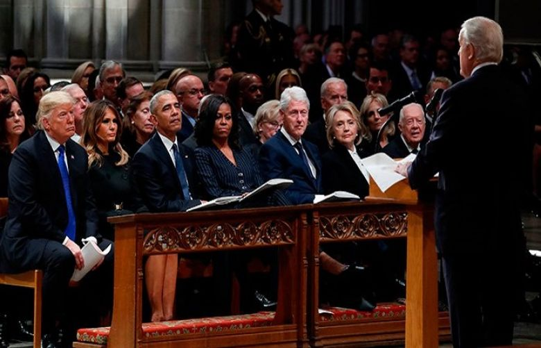 No chumminess between Trump, former presidents at George Bush funeral