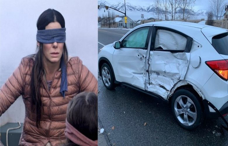 "A composite image of actress Sandra Bullock in Netflix's ""Bird Box"" (left) and the damage caused after a teenager in Utah drove while blindfolding her eyes as part of the ""Bird Box"" challenge earlier this week."