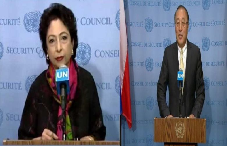 Pakistan's Permanent Representative to the United Nations Maleeha Lodhi and China's ambassador to the United Nations Zhang