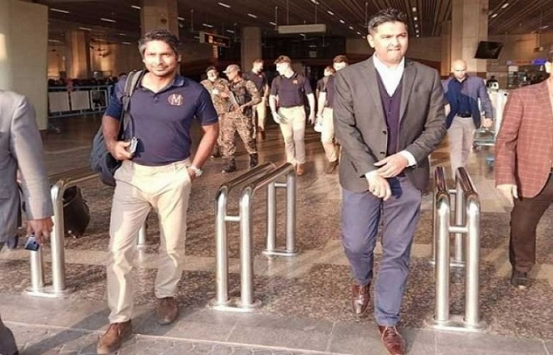 Former Sri Lanka captain and Marylebone Cricket Club (MCC) President Kumar Sangakkara arrives in Pakistan