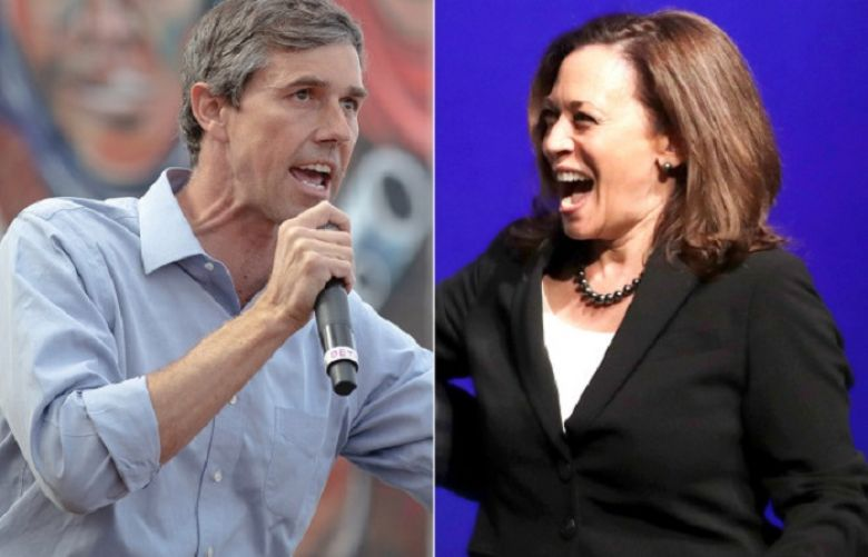 The US Democratic Presidential Candidates Kamala Harris and Beto O Rourke