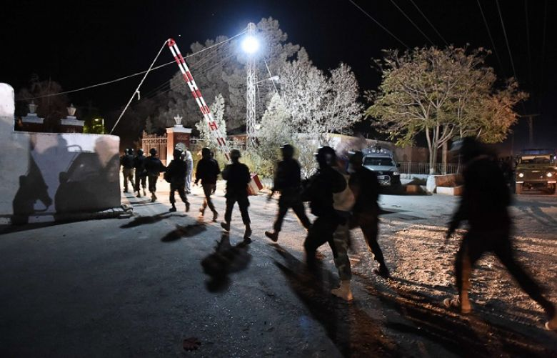 Soldiers arrive at the Balochistan Police Training College in Quetta