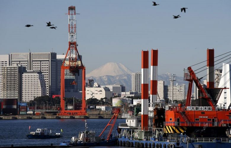 Birds fly in front of Mt. Fuji and a crane at a port in Tokyo, Japan January 25, 2016