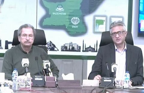 Federal Minister for Education Shafqat Mahmood and Dr Faisal Sultan