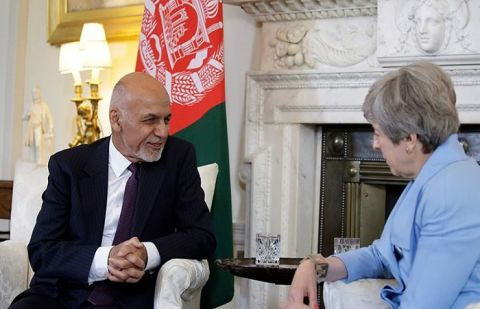Afghan President Ashraf Ghani and British PM May