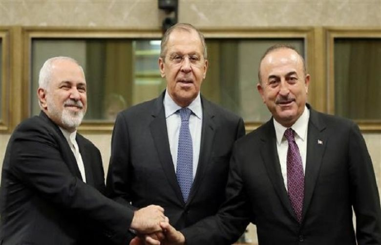 Turkish Foreign Minister Mevlut Cavusoglu, Iranian Foreign Minister Mohammad Javad Zarif and Turkish foreign minister