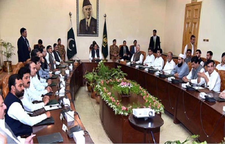 Prime Minister Imran Khan meeting with the members of the provincial cabinet in Peshawar