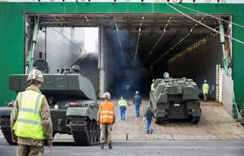 British army tanks and guns have been transported from Germany to Estonia by ferry