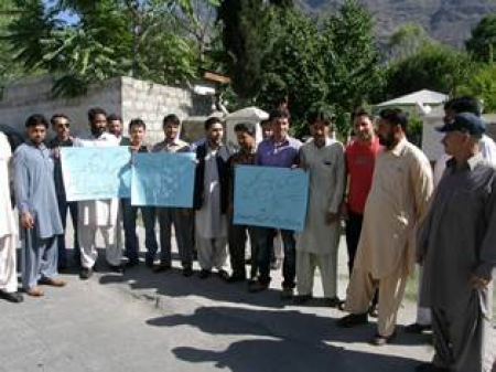 Protest by journalist at skardu