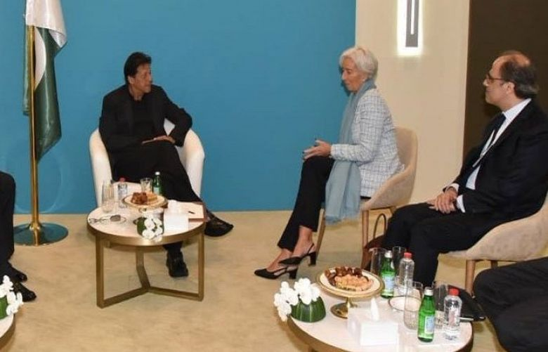 PM Khan meets IMF chief for talks on bailout in Dubai