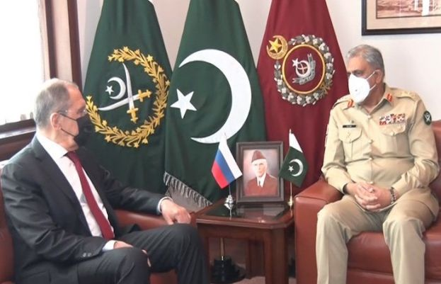 Foreign Minister of Russia Sergey Lavrov on Wednesday calls on chief of Army Staff General Qamar Javed Bajwa.