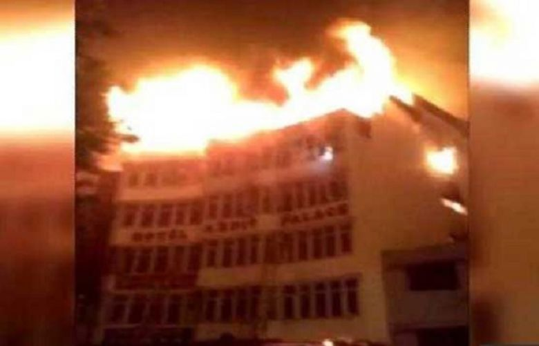 At least 17 people were killed and three others injured when a fire engulfed a hotel in New Delhi.