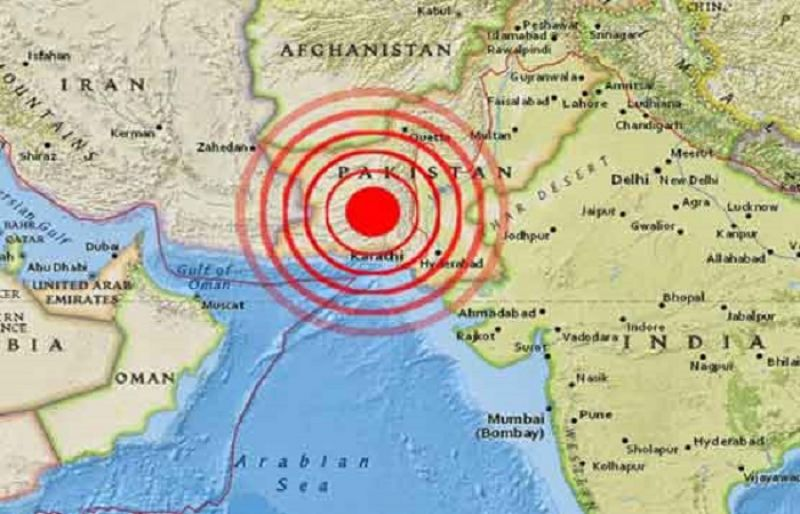 Magnitude 53 earthquake jolts pakistan such tv a map showing the epicentre of the quake publicscrutiny Image collections