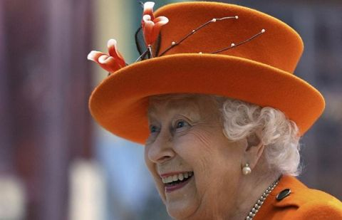 Britain's Queen Elizabeth II reacts during a visit to the Science Museum in London on Thursday.