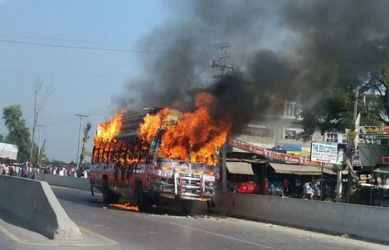 The fellow students of the victim and local area residents put the bus on fire.