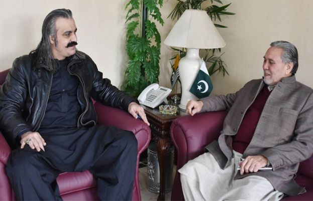 Speaker GB Assembly Fida Muhammad Nashad and Minister for Kashmir Affairs and Gilgit-Baltistan, Ali Amin Gandapur