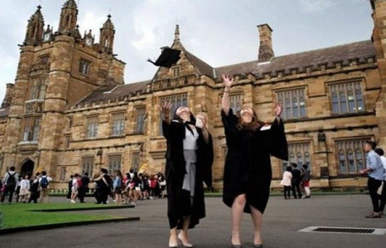Celebrating at the University of Sydney: Australian graduates are ahead of those from US and UK.