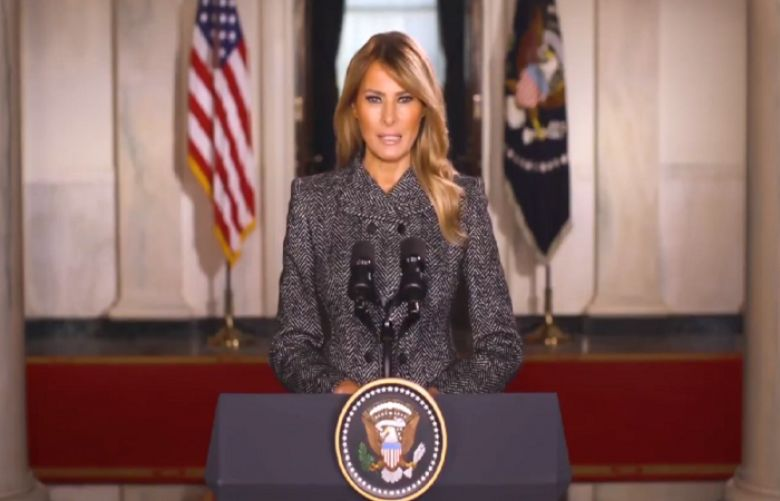 Melania Trump urges Americans to be energetic, yet stay peaceful