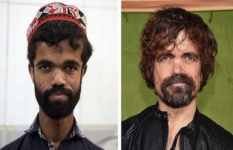 "This photo combination created on March 14, 2019 shows (L) Rozi Khan posing for a photograph at Dilbar Hotel in Rawalpindi on Feb 22, (R) US actor Peter Dinklage at the HBO premiere of ""My Dinner With Herve"" at the Paramount Studios in Los Angeles on Oct 4, 2018."