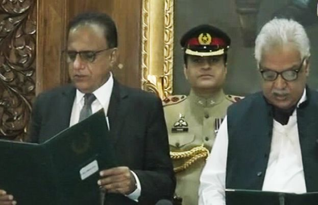 Former Justice Dost Muhammad Khan taking oath as KP CM