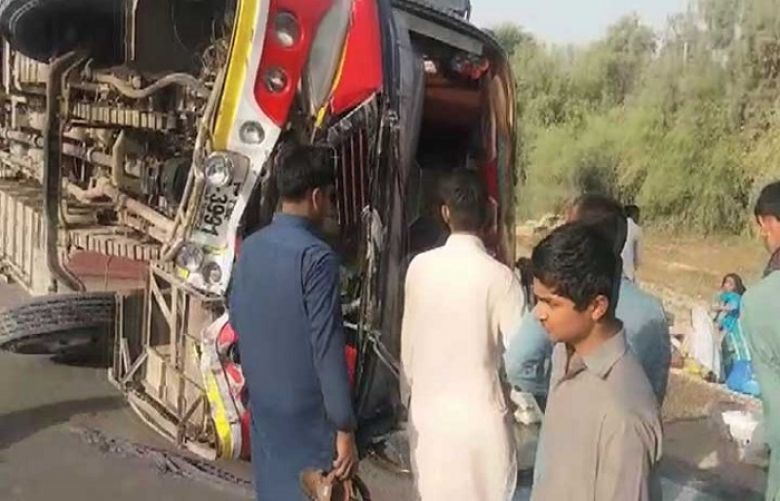Four Dead in Indus Highway accident as passenger bus turns turtle