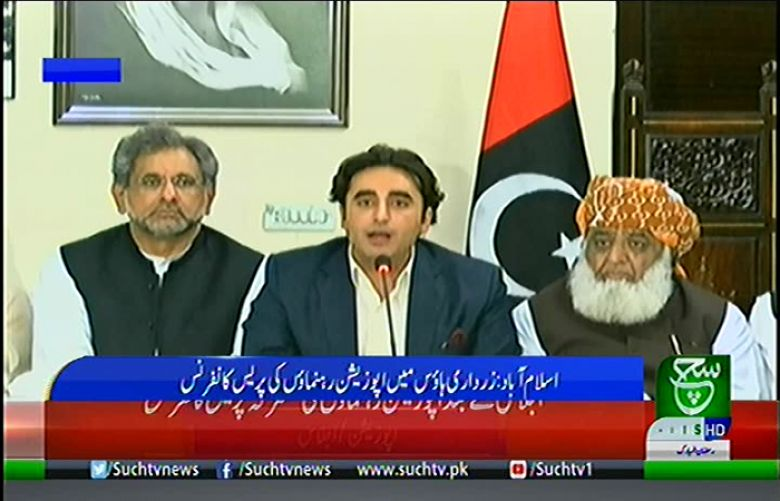 Opposition parties leaders addressing a joint press conference at Zardari House in Islamabad,