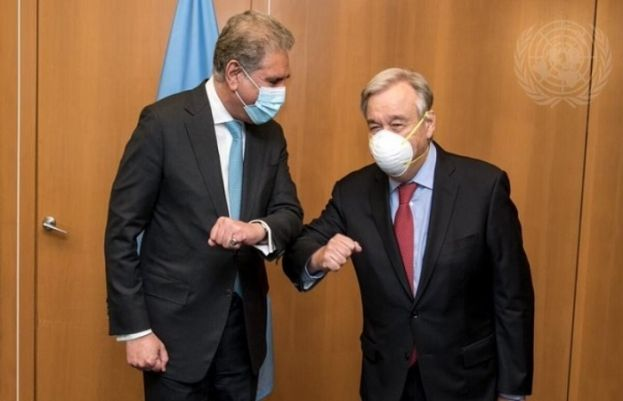 Foreign Minister Shah Mahmood Qureshi and UN Secretary General Antonio Guterres