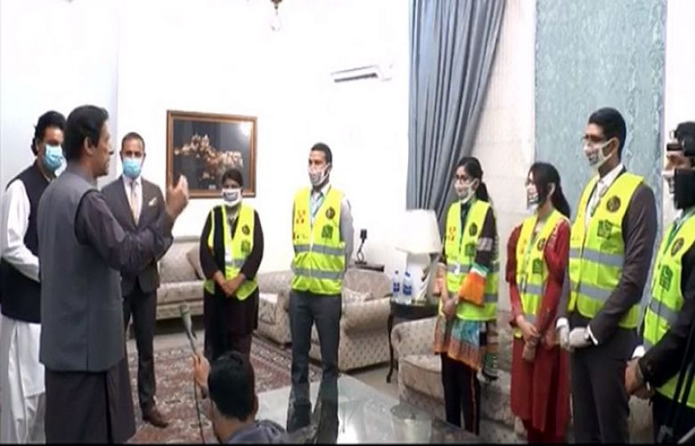 Prime Minister Imran Khan is addressing a select group of volunteers of the Corona Relief Tiger Force