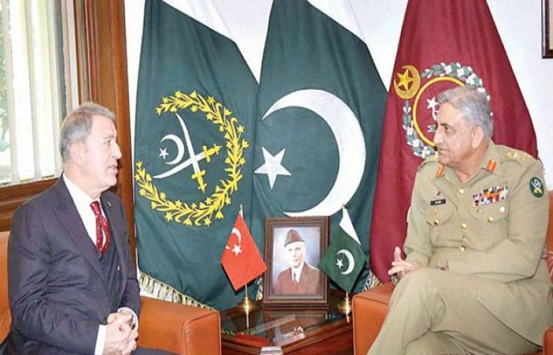 Turkish Minister of National Defence retired Gen Hulusi Akar called on Chief of Army Staff (COAS) General Qamar Javed Bajwa on Monday.