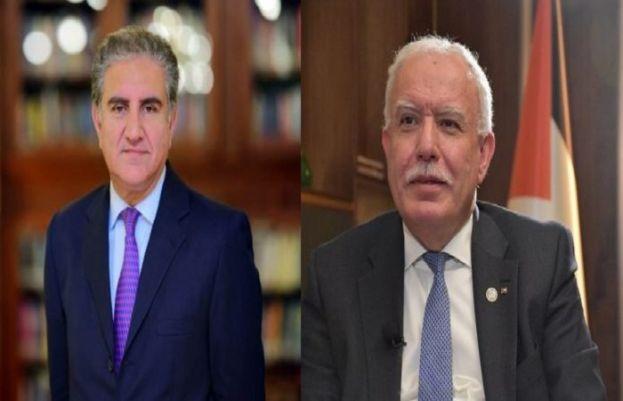 Foreign Minister Shah Mahmood Qureshi and his Palestinian counterpart Dr Riyad Al Maliki