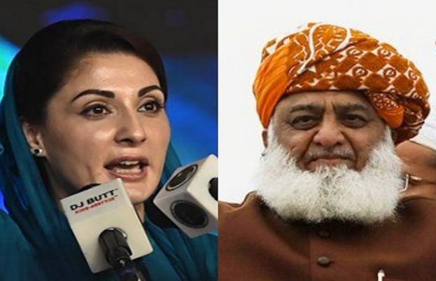 PML-N vice president Maryam Nawaz and Jamiat Ulema-e-Islam Fazl (JUI-F) chief Maulana Fazlur Rehman