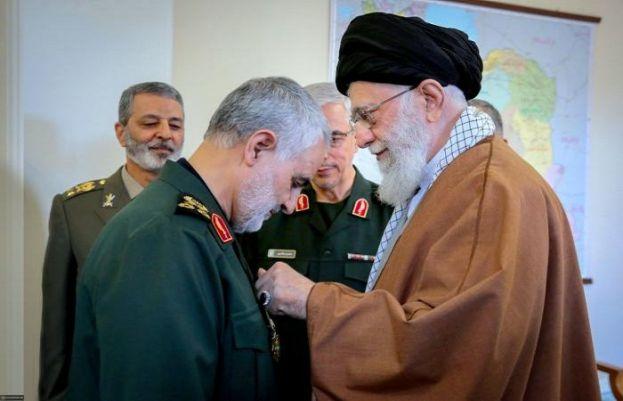 Irans' Supreme Leader Ayatollah Sayed Ali Khamenei and assassinated IRGC Quds Force Commander Major General Qassem Soleimani