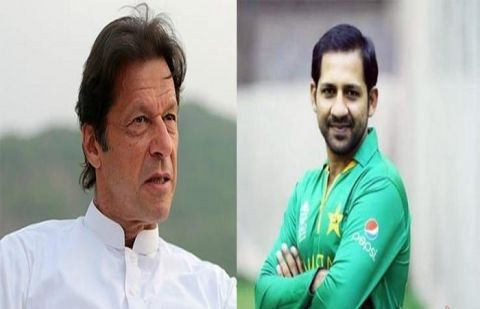 Prime Minister Imran Khan and captain Sarfaraz Ahmed