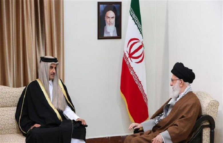 Leader of the Islamic Revolution Ayatollah Seyyed Ali Khamenei and Qatari Emir Sheikh Tamim bin Hamad Al-Thani