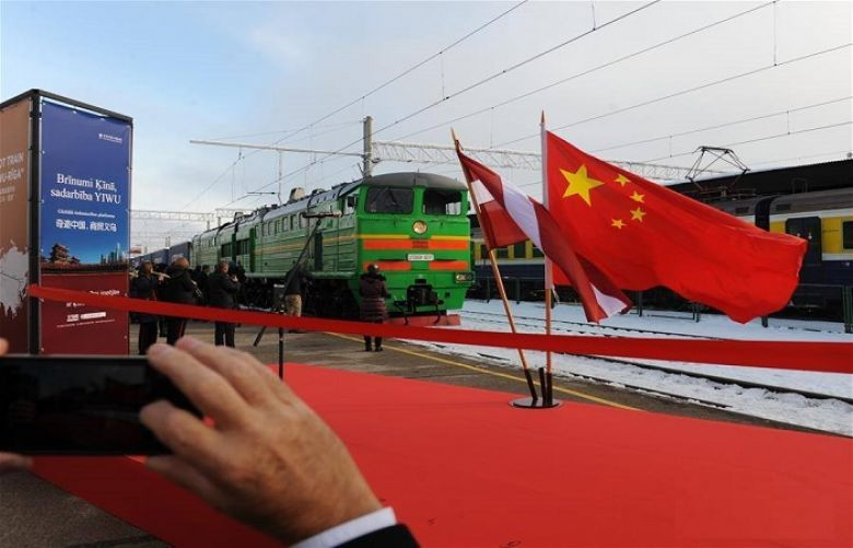 1st trans-Eurasia container train linking China, Latvia arrives in Riga