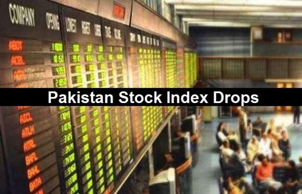 Pakistan Stock Exchanges 100 Iindex drops.
