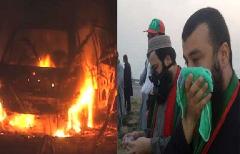 PTI's mob sets ablaze eight police mobiles near Attock