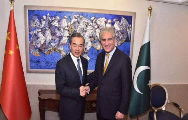 Chinese State Councilor and Foreign Minister Wang Yi  meets his pakistani counterpart Shah Mehmood Qureshi.