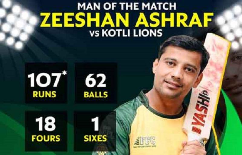 Zeeshan Ashraf score's first ever century of KPL 2021