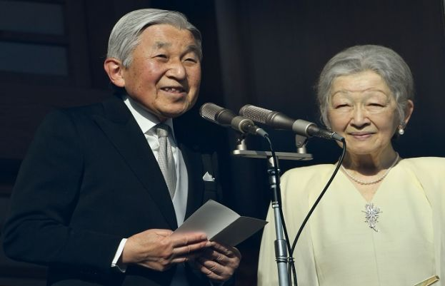 Japanese Emperor Akihito and Empress Michiko at the Imperial Palace in Tokyo on Jan. 2, 2017. The emperor and empress are scheduled to visit Vietnam and Thailand.