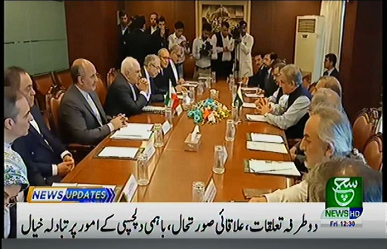 Foreign Minister Shah Mehmood Qureshi speaking at delegation level talks between Pakistan and Iran in Islamabad