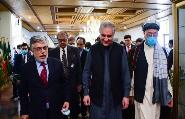 Foreign Minister Shah Mahmood Qureshi, after meeting a delegation of Afghan leaders in Islamabad