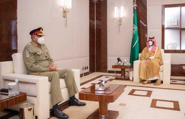Saudi Crown Prince Mohammed Bin Salman and Chief of the Army Staff (COAS), General Qamar Javed Bajwa