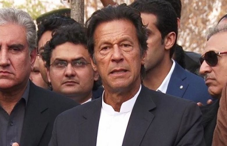 PTI Chief Imran Khan during talking to media persons in Islamabad