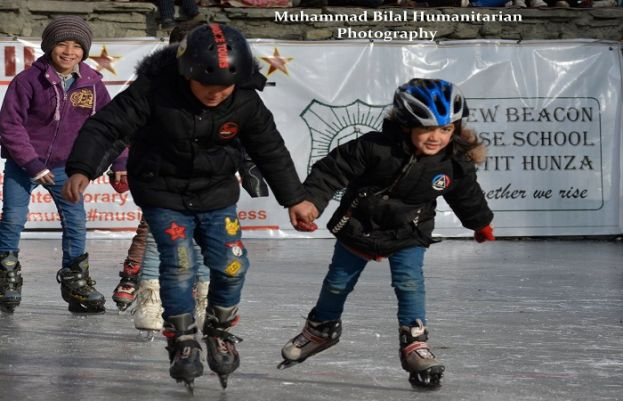 Young Children Playing Ice Hockey at Altit Old Capital of Hunza.