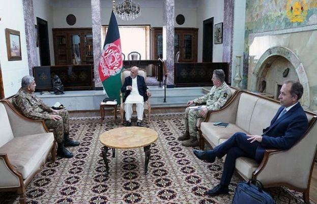Afghanistan President Ashraf Ghani and Chief of Army Staff General Qamar Javed Bajwa