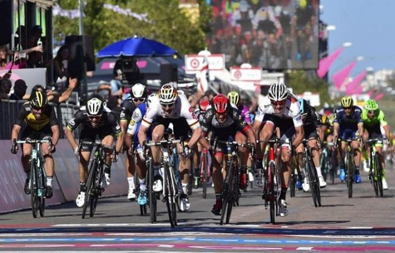 Andre Greipel wins stage two of the Giro d'Italia to move into overall lead