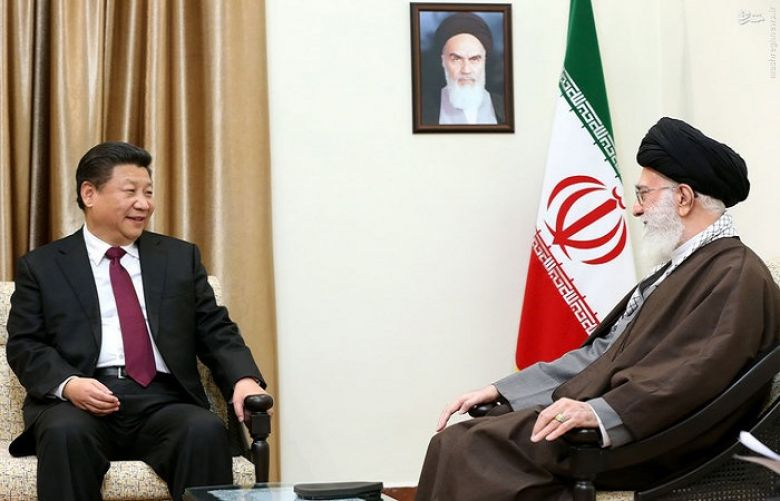 Supreme Leader Ayatollah Ali Khamenei, right, meets with Chinese President Xi Jinping.